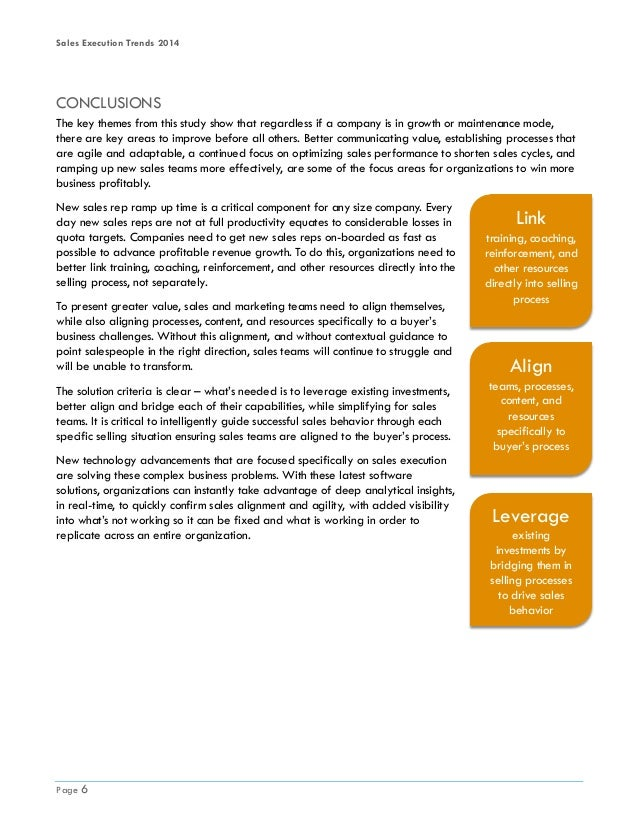 Sales Execution Trends 2014 Page 6 CONCLUSIONS The key themes from this study show that regardless if a company is in grow...