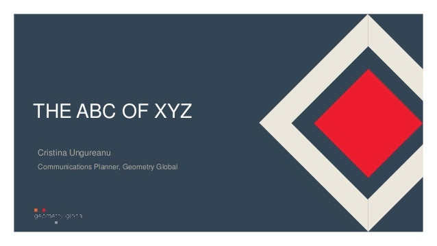 1 THE ABC OF XYZ Cristina Ungureanu Communications Planner, Geometry Global