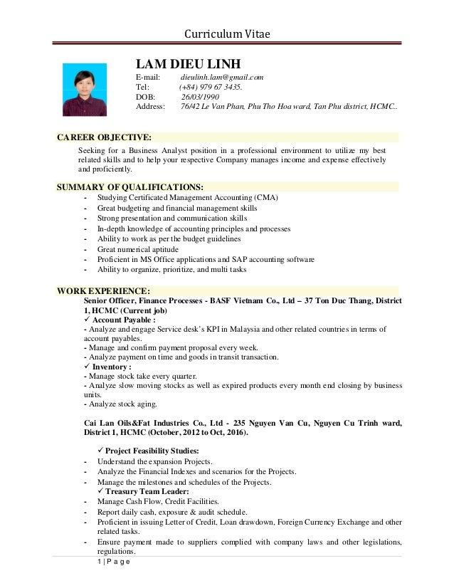 1 LAM DIEU LINH Resume
