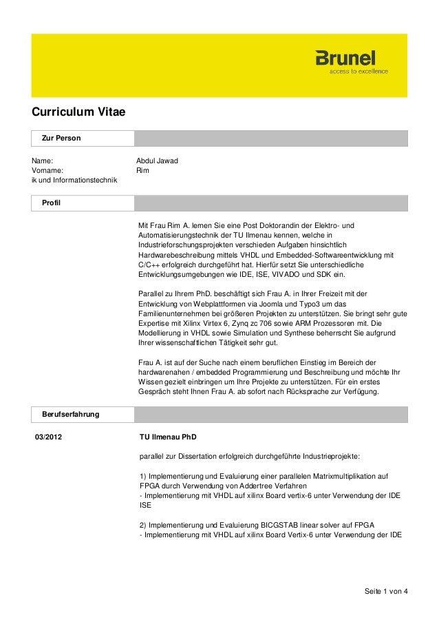 Seite 1 von 4 Curriculum Vitae Zur Person Name: Abdul Jawad Vorname: Rim ik und Informationstechnik Profil Mit Frau Rim A....