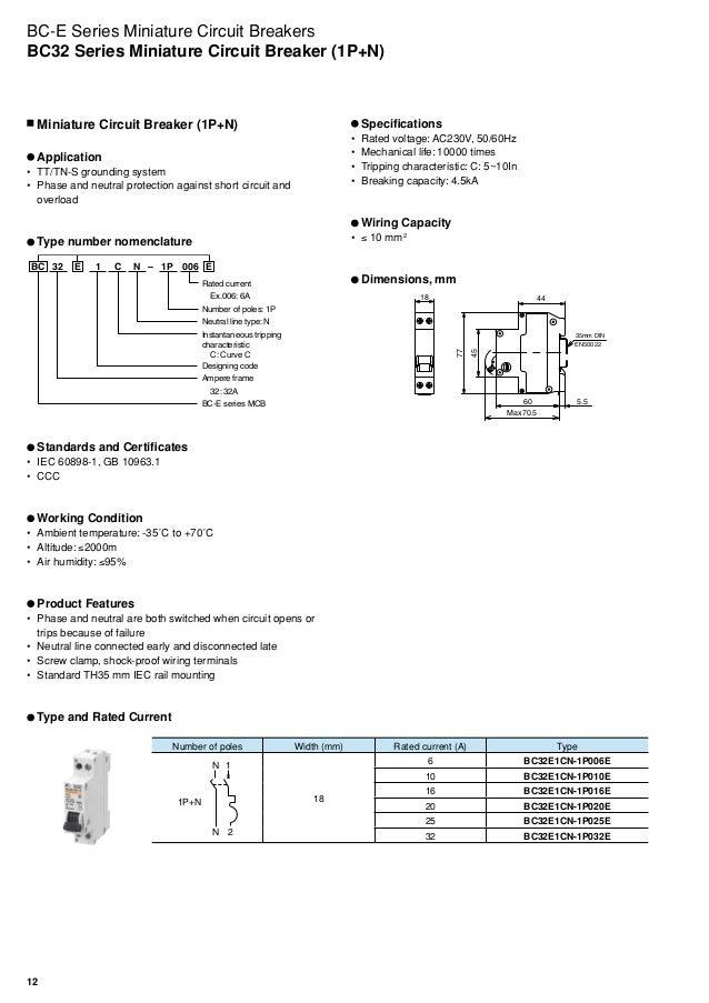Miniature Circuit Breakers Bc E Series Fuji Electric