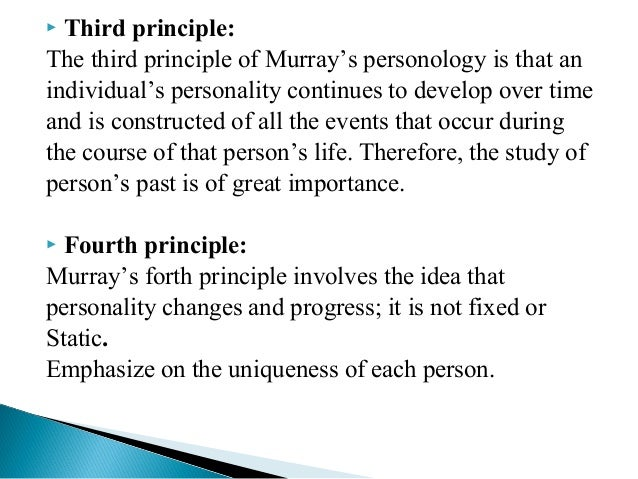 henry a murray personology Along with christiana morgan, henry murray developed the thematic  apperception test (tat) as a personality assessment tool more specifically, the  murray.