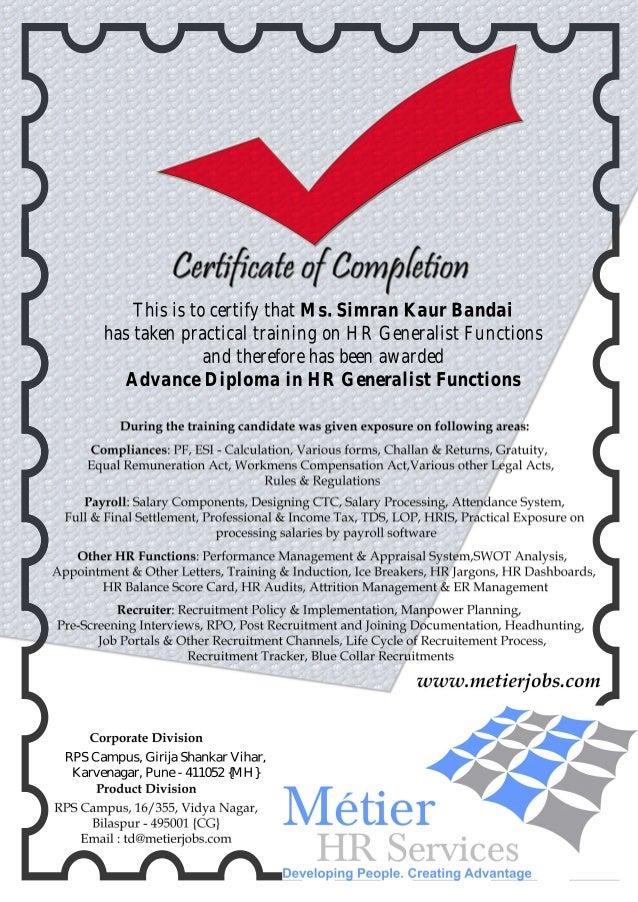 Certificate of HR Generalist Training 2013-14