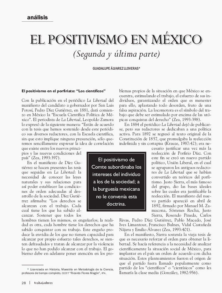 análisis      EL POSITIVISMO EN MÉXICO                                  (Segunda y última parte)                          ...