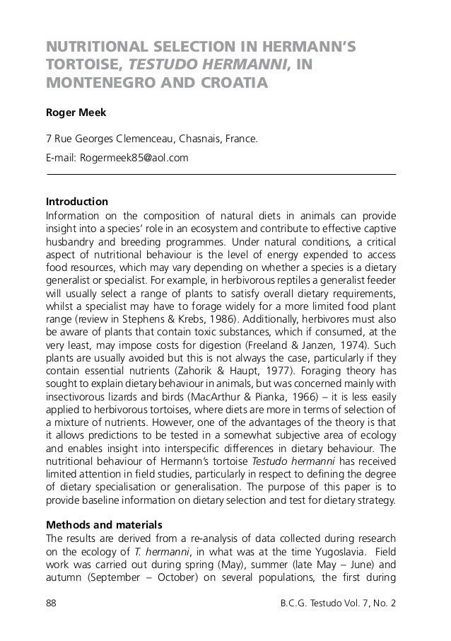 88 B.C.G. Testudo Vol. 7, No. 2 NUTRITIONAL SELECTION IN HERMANN'S TORTOISE, TESTUDO HERMANNI, IN MONTENEGRO AND CROATIA ...