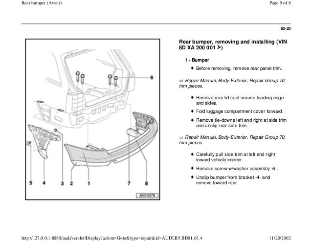 audi a4 b5 18l 1996 bady 63 16 rear bumper avant 5 638 bentley audi a8 blower motor wiring diagram audi wiring diagrams  at gsmx.co