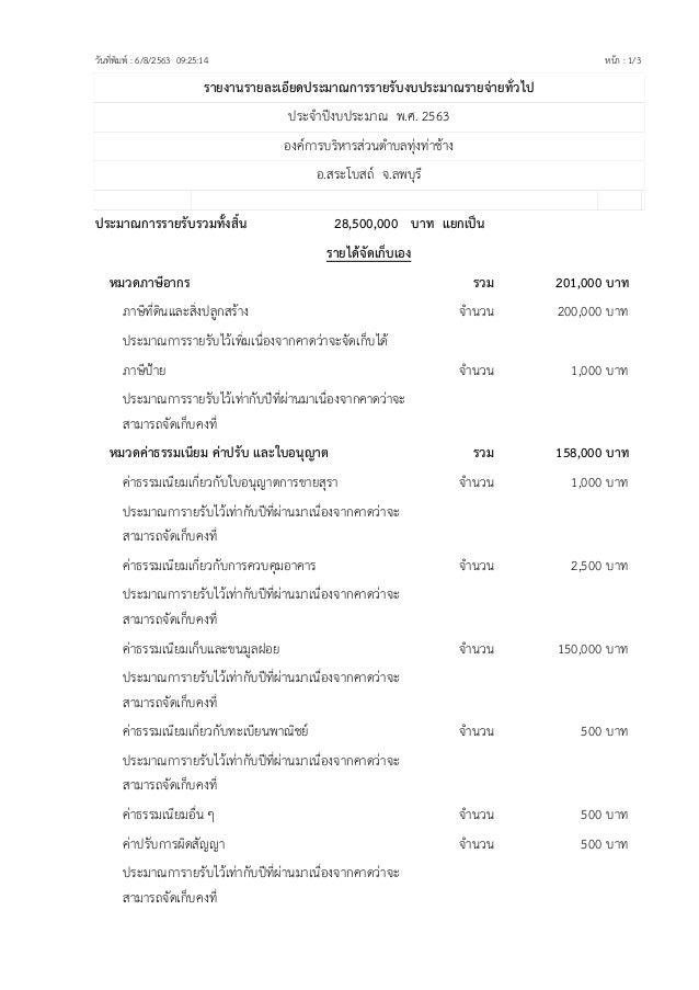 รายงานรายละเอียดประมาณการรายรับงบประมาณรายจ่ายทั่วไป ปร จาปงบปร มาณ พ.ศ. 2563 งค ารบริ าร วนตาบลทุงทาชาง . ร โบ ถ จ.ลพบุรี...