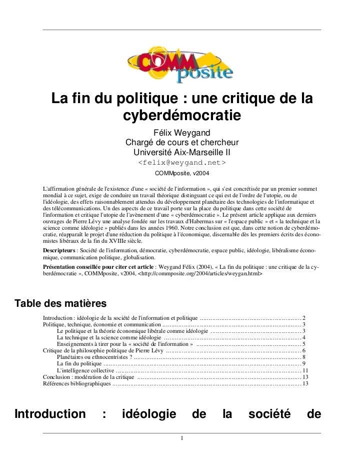 La fin du politique : une critique de la                    cyberdémocratie                                               ...