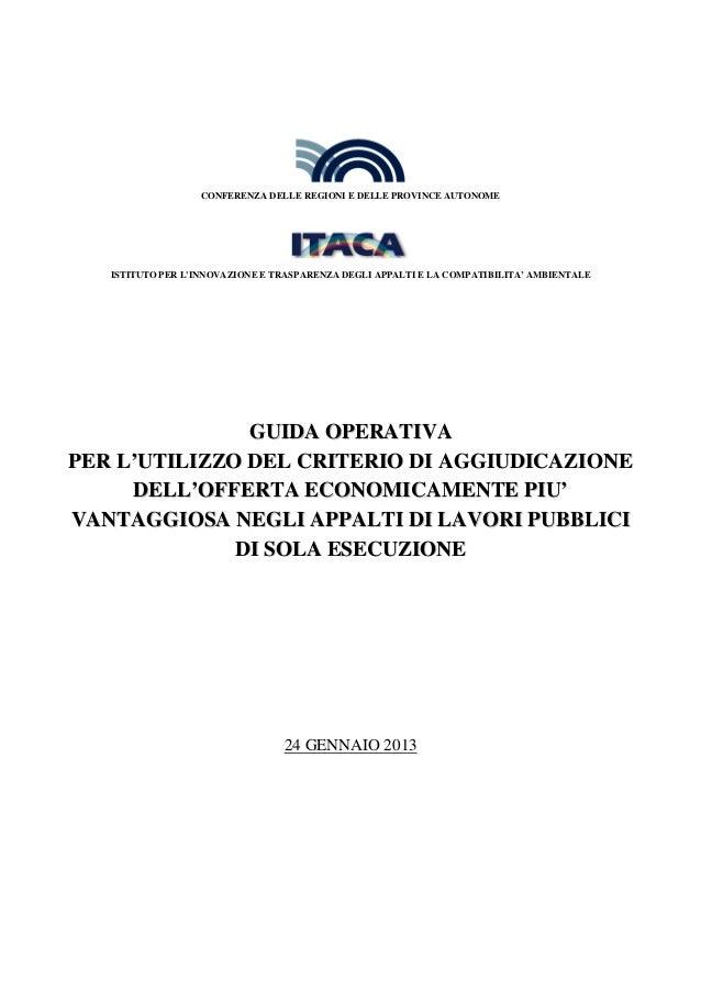 CONFERENZA DELLE REGIONI E DELLE PROVINCE AUTONOME   ISTITUTO PER LINNOVAZIONE E TRASPARENZA DEGLI APPALTI E LA COMPATIBIL...