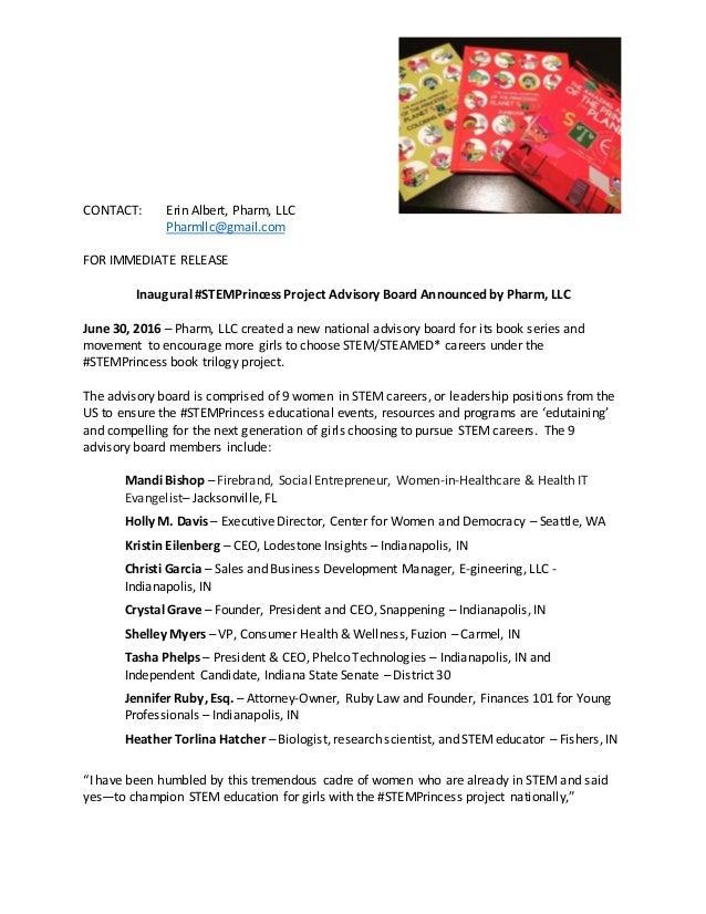 CONTACT: Erin Albert, Pharm, LLC Pharmllc@gmail.com FOR IMMEDIATE RELEASE Inaugural #STEMPrincess Project Advisory Board A...