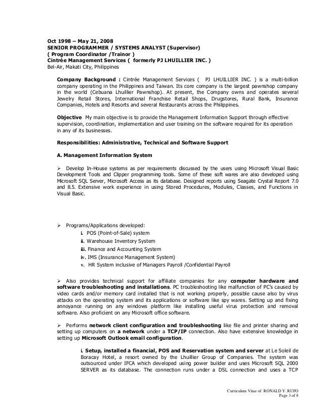 RonaldRufoCVPharmacy Programmer2 – Powerbuilder Programmer