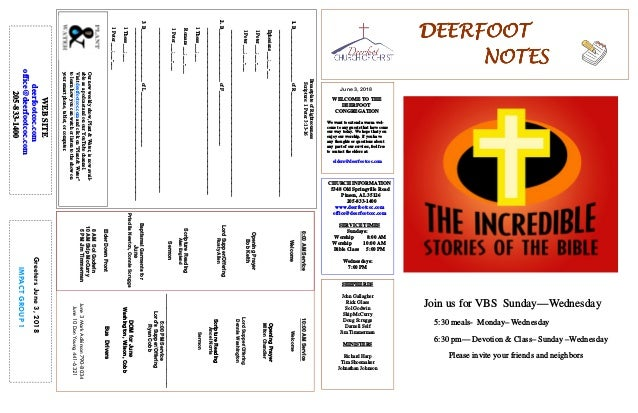 June 3, 2018 GreetersJune3,2018 IMPACTGROUP1 DEERFOOTDEERFOOTDEERFOOTDEERFOOT NOTESNOTESNOTESNOTES WELCOME TO THE DEERFOOT...