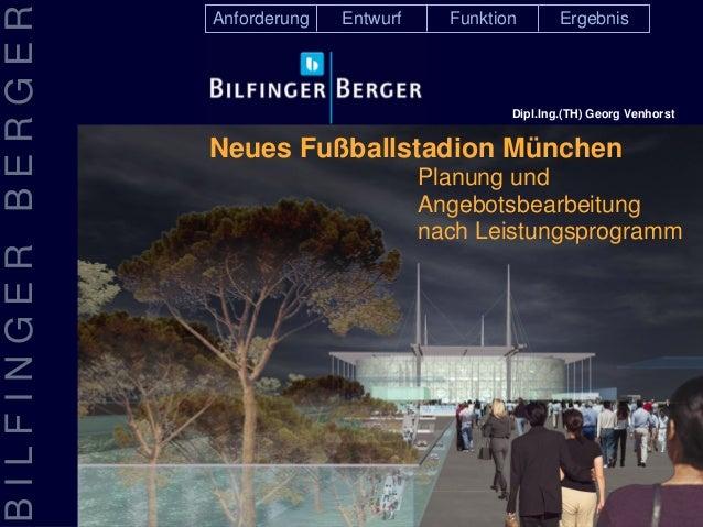 BILFINGERBERGER Planung und Angebotsbearbeitung nach Leistungsprogramm EntwurfAnforderung Funktion Ergebnis Neues Fußballs...