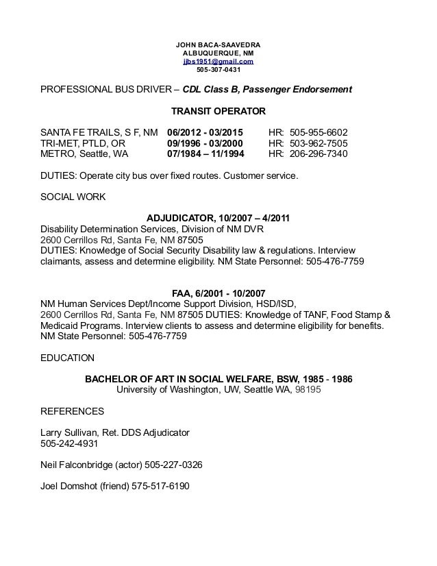 driver resume 2016