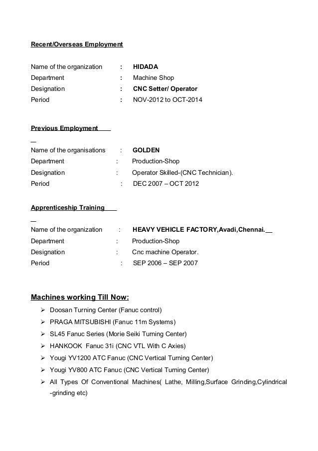 Resume For Turner Or Mc Operator