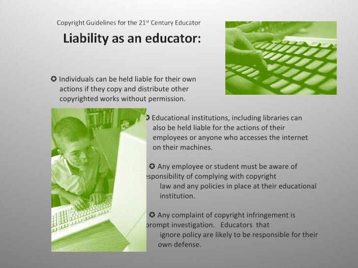 ✪ Individuals can be held liable for their own    actions if they copy and distribute other    copyrighted works without ...