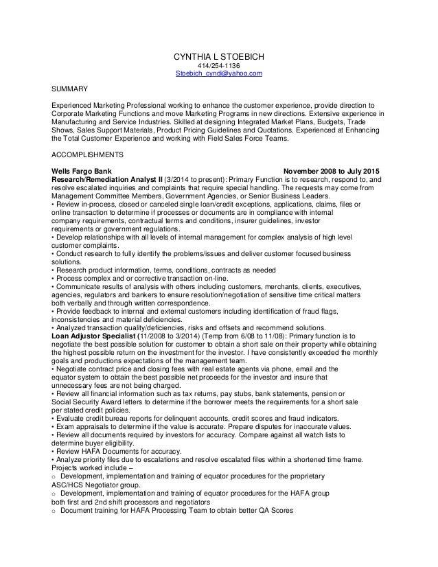 CYNTHIA L STOEBICH 414/254-1136 Stoebich_cyndi@yahoo.com SUMMARY Experienced Marketing Professional working to enhance the...