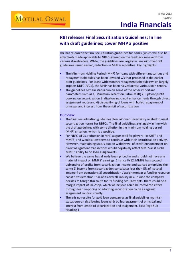 8 May 2012 Update  India Financials RBI releases Final Securitization Guidelines; In line with draft guidelines; Lower MHP...