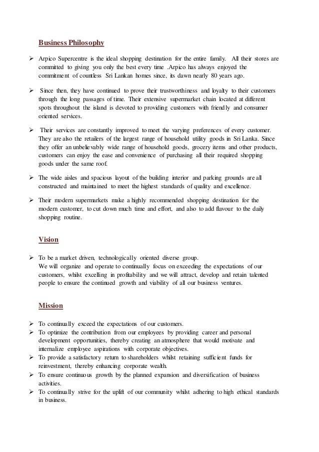Marketing Orientation of Arpico Supercentre