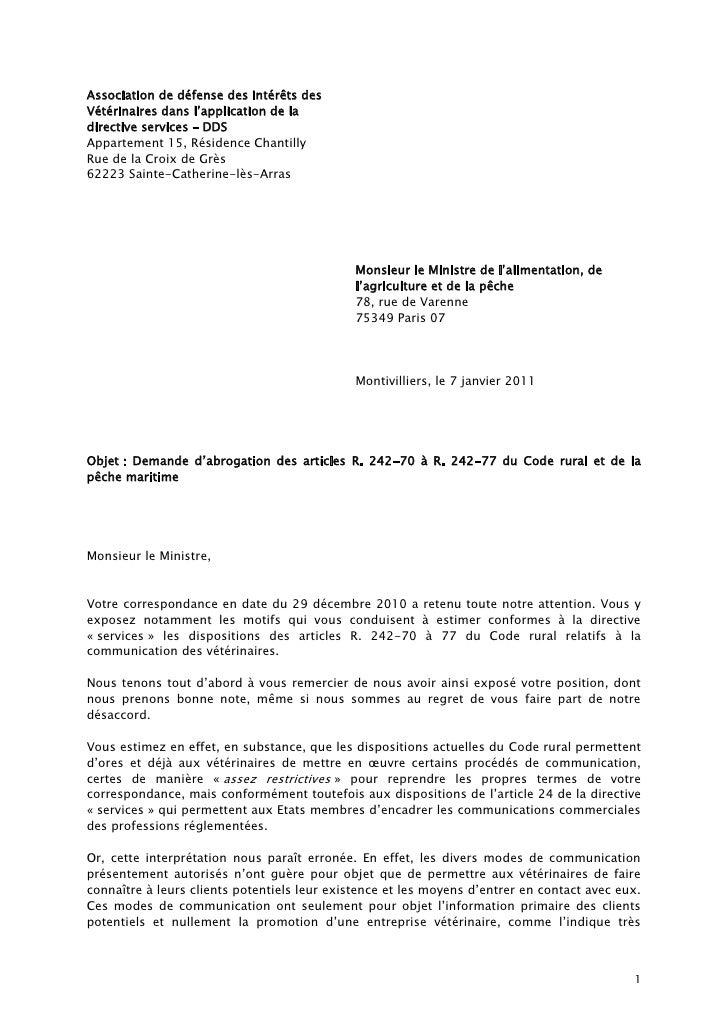 Association de défense des Intérêts des Vétérinaires dans l'application de la directive services – DDS Appartement 15, Rés...