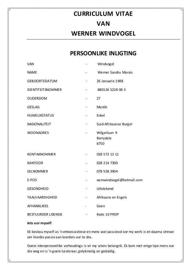 south african cv template download - curriculum vitae afrikaans docx