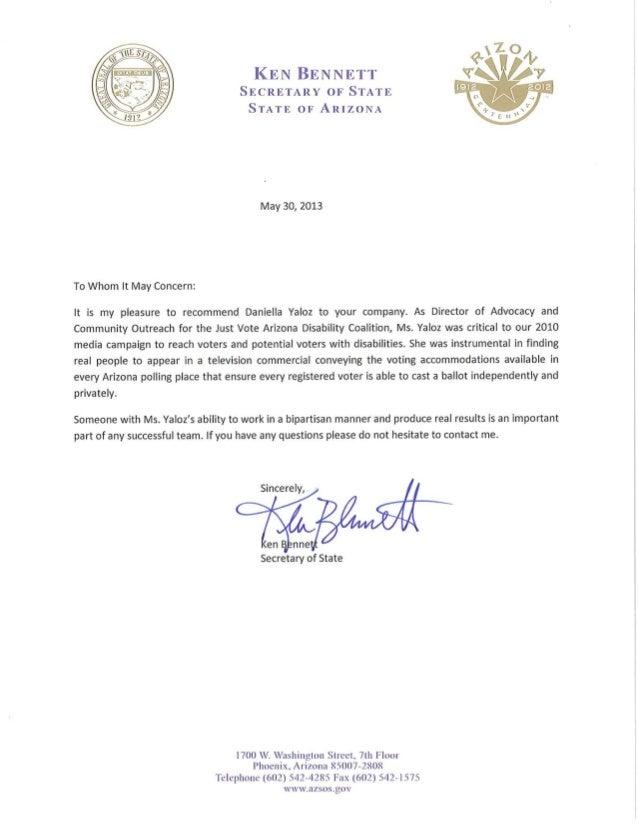 Letter of Recommendation  Secretary Bennett