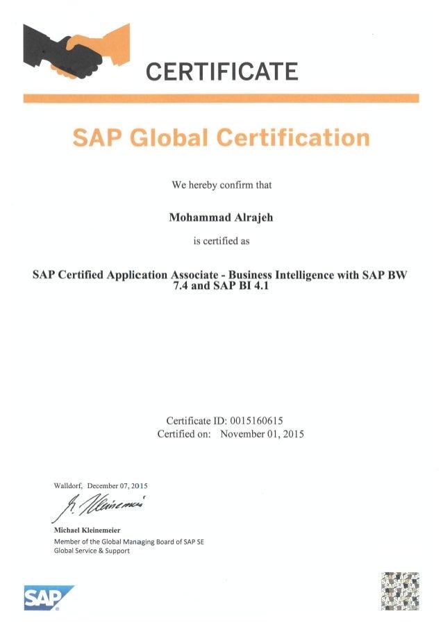 Mohammed Sap Certified Application Associate Business Intelligence