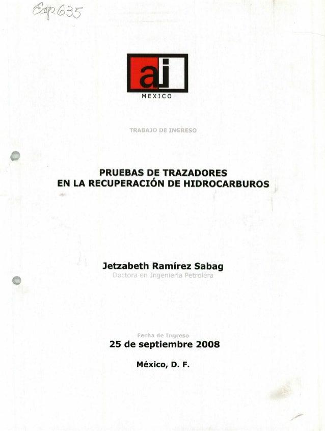iii MEXICO PRUEBAS DE TRAZADORES EN LA RECUPERACIÓN DE HIDROCARBUROS Jetzabeth Ramírez Sabag 25 de septiembre 2008 México,...