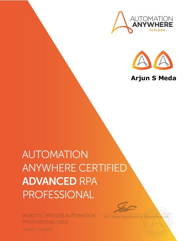 Automation Anywhere Certified Advanced RPA Professional