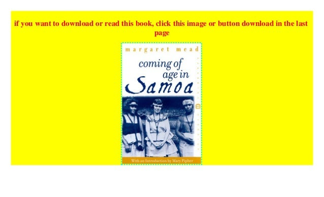Coming Of Age In Samoa Pdf