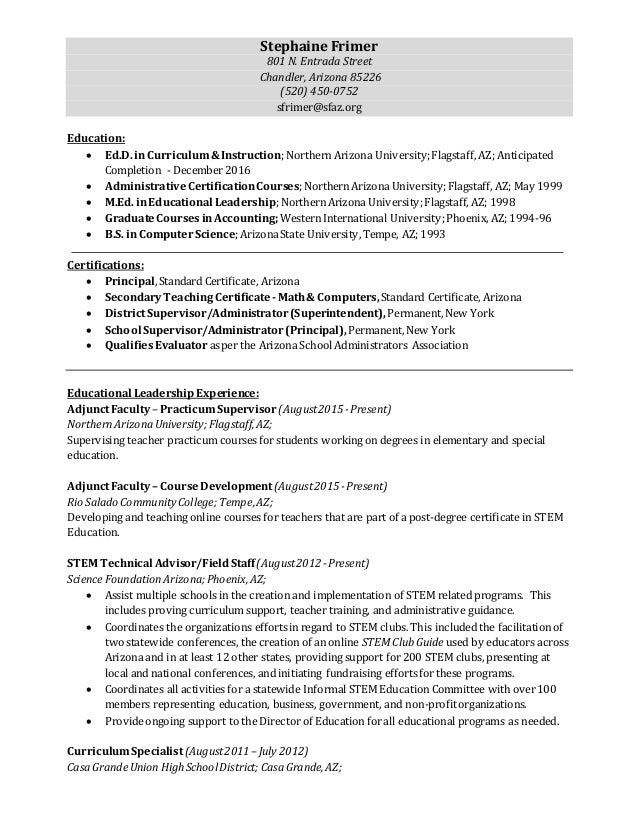 Sfrimer Resume September 2015