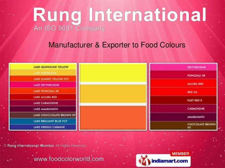 Manufacturer & Exporter to Food Colours