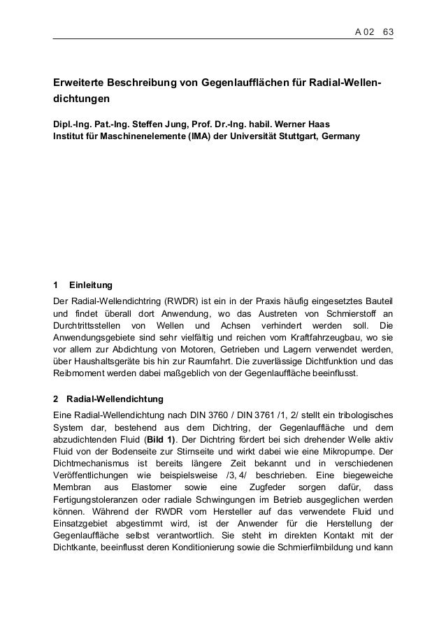 Erweiterte Beschreibung von Gegenlaufflächen für Radial-Wellen- dichtungen Dipl.-Ing. Pat.-Ing. Steffen Jung, Prof. Dr.-In...