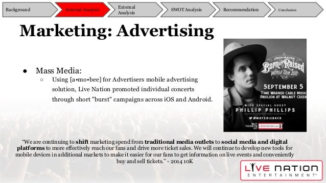 live nation swot Skills include event planning , risk analysis , swot analysis , towie analysis , contingency planning catherine mercer, live nation entertainment.