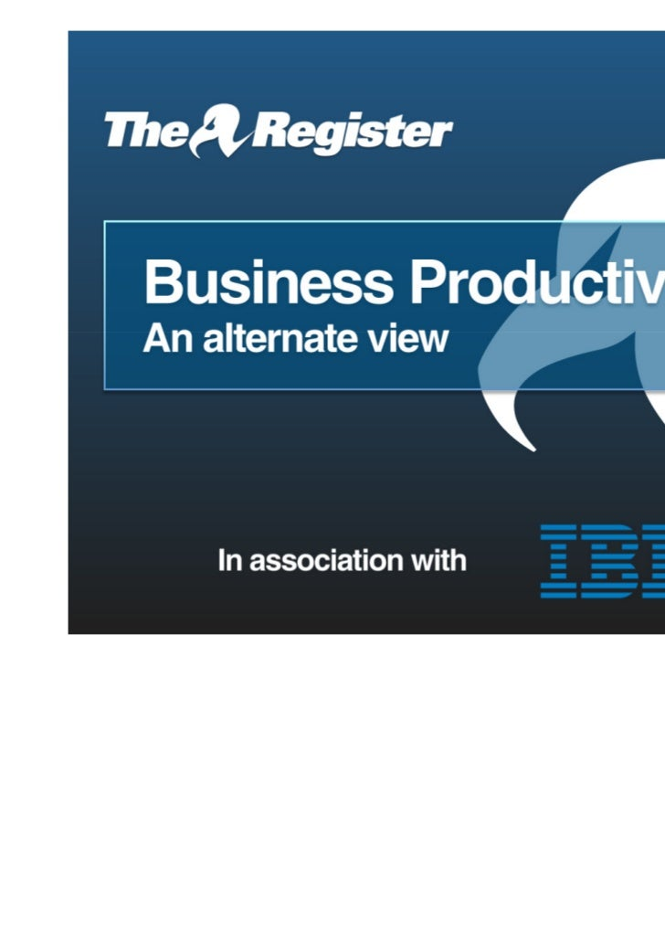 Business Productivity: An Alternative Perspective