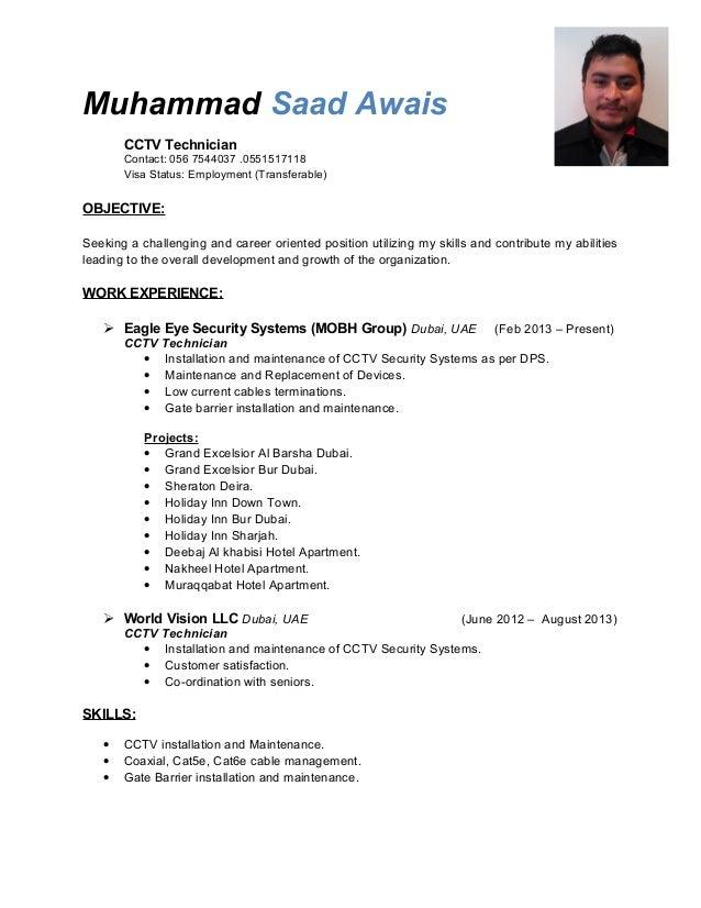Resume Cctv Engineer A Good Resume Example
