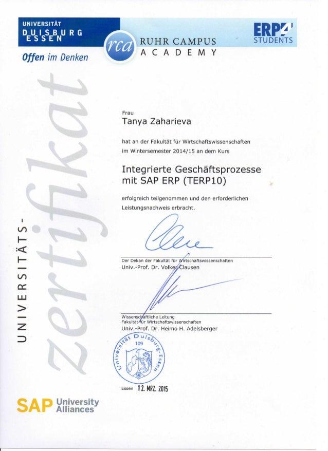 Zertifikat SAP ERP