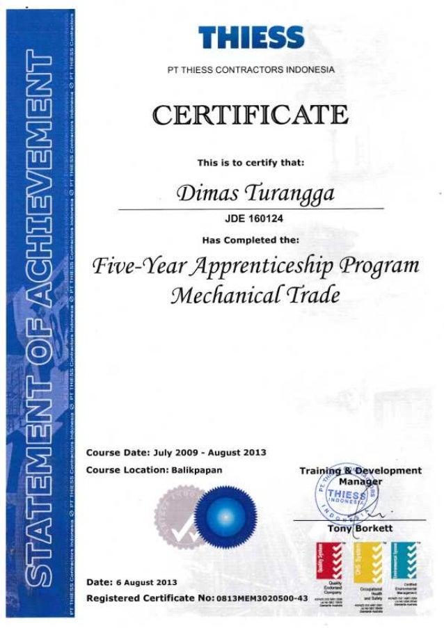 Apprentice Certificate