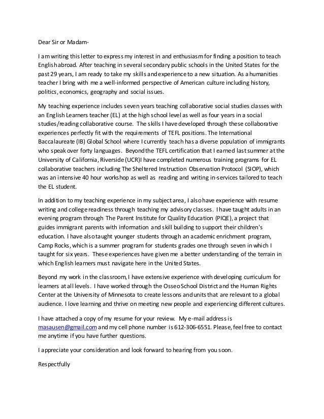 tefl summer camp cover letter