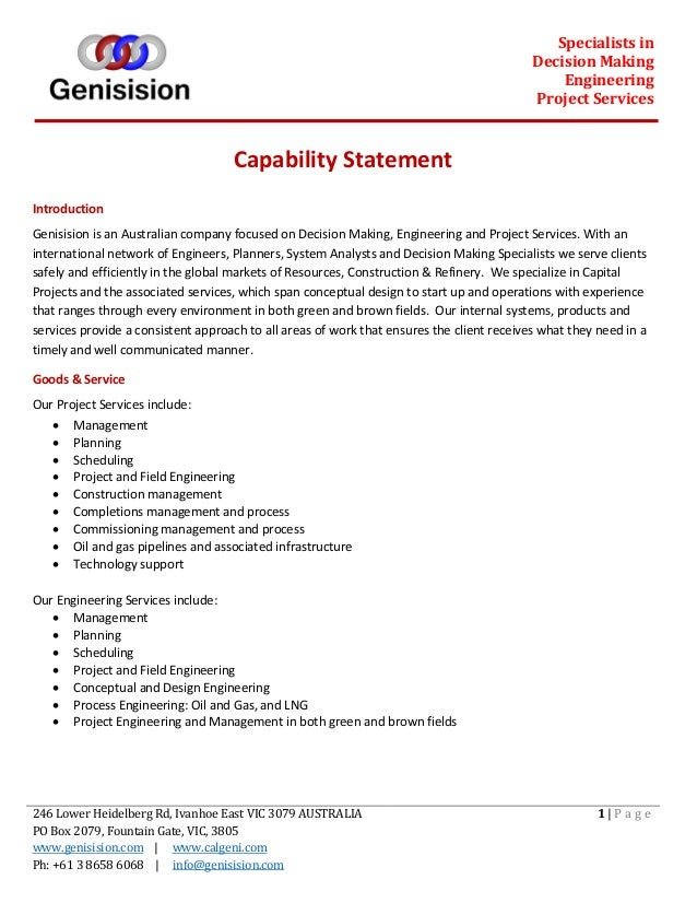 Specialists in Decision Making Engineering Project Services 246 Lower Heidelberg Rd, Ivanhoe East VIC 3079 AUSTRALIA PO Bo...