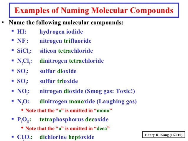 Writing And Naming Molecular Formulas For Binary Compounds