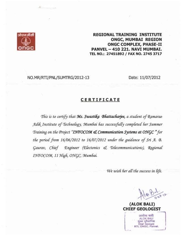 Ongc Certificate Pdf