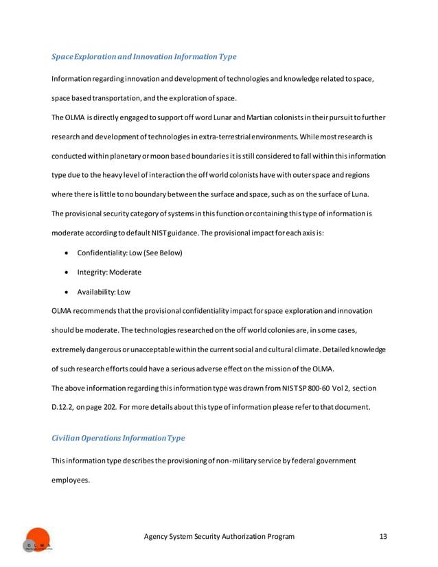 Agency System Security Authorization Program 13 SpaceExplorationand Innovation InformationType Informationregardinginnovat...
