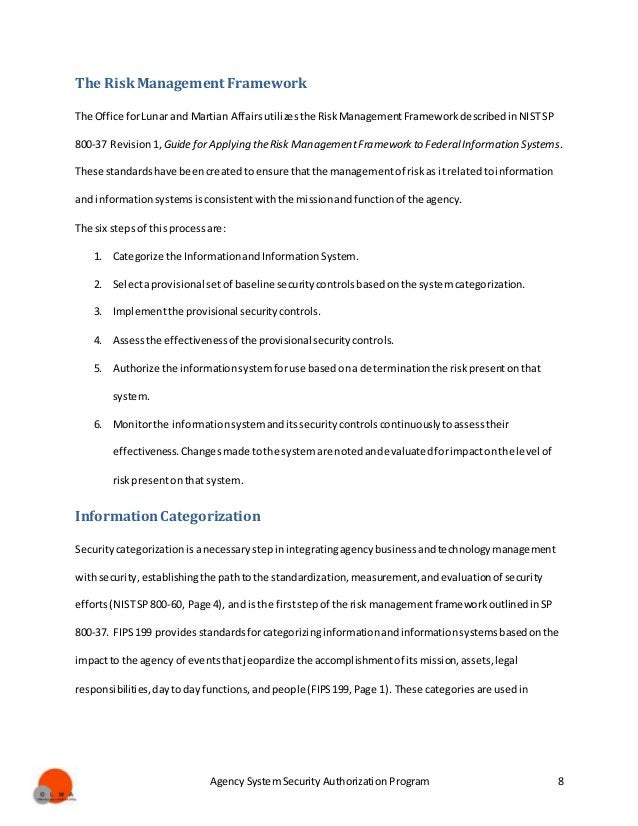 Agency System Security Authorization Program 8 The RiskManagement Framework The Office forLunar and Martian Affairsutilize...