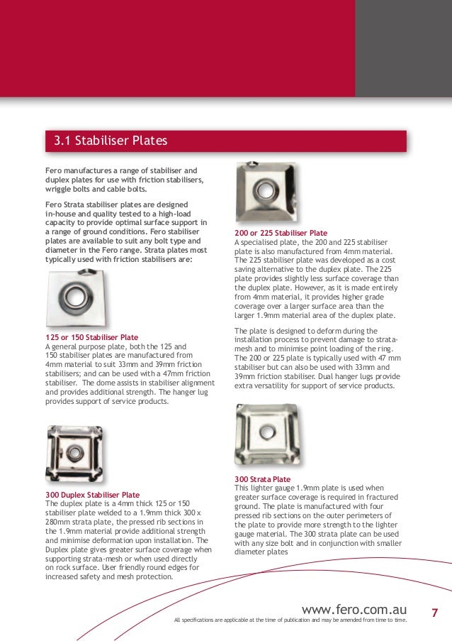 Fero Strata Product Brochure 2013 Friction Bolts
