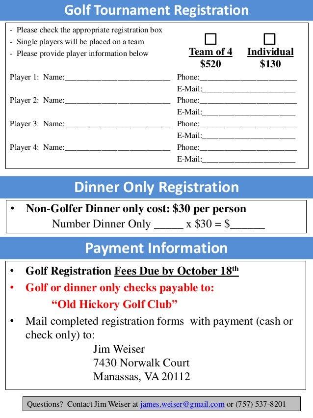 Golf Registration Form Stephen Monaco Charity Golf Tournament 2016
