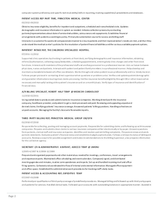 Page 2 computer system proficiencyand specific technicalability/skills inreporting, tracking capabilities/spreadsheets and...