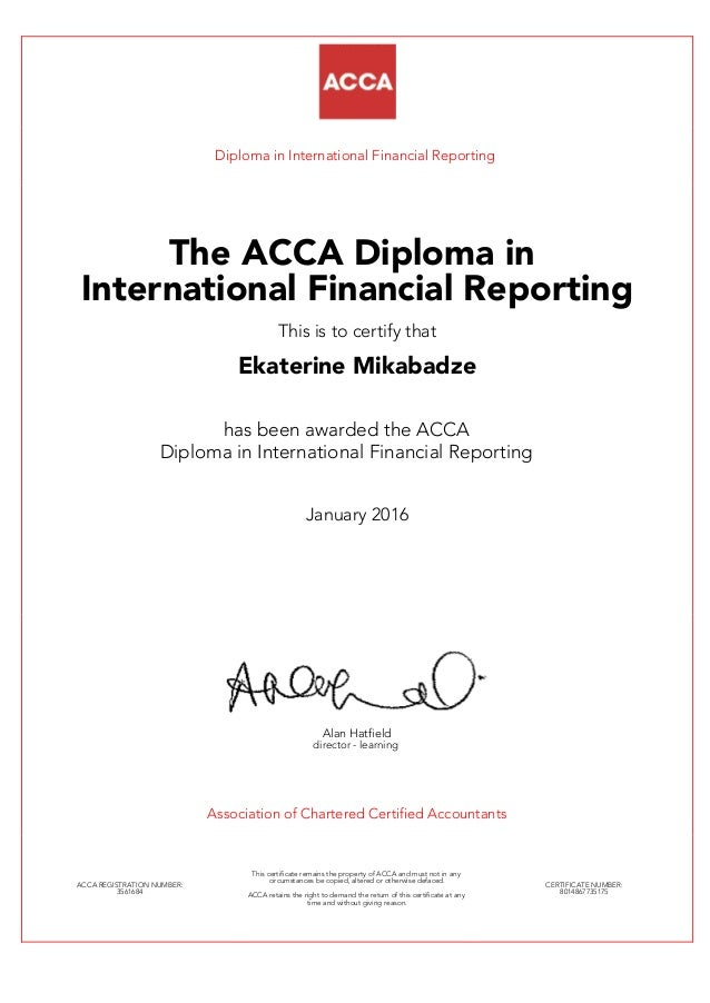 dipifr diploma diploma in international financial reporting the acca diploma in international financial reporting this is to certify dipifr diploma