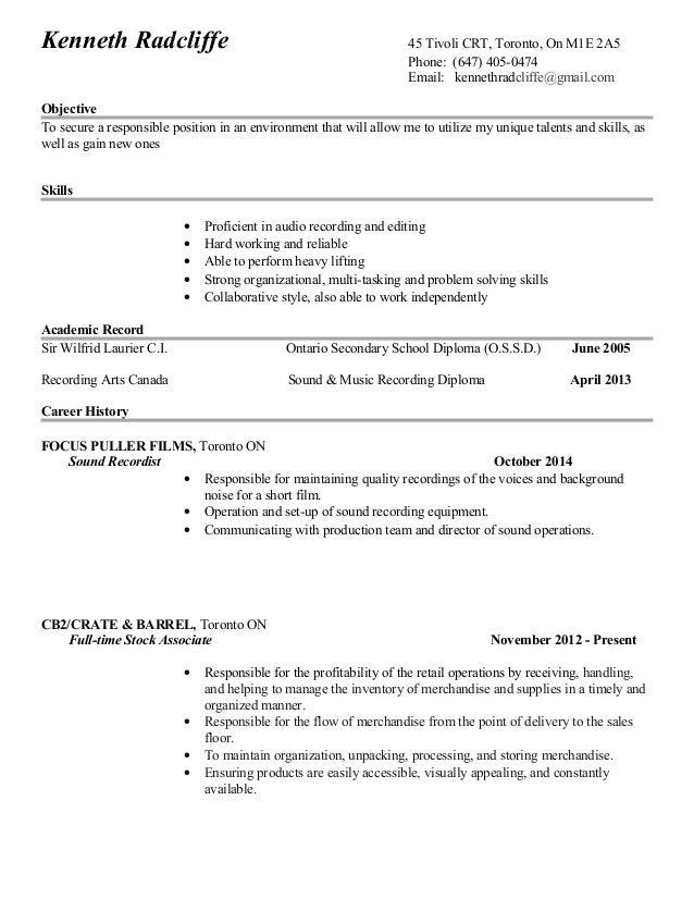 Ken Radcliffe\'s Good Copy Resume