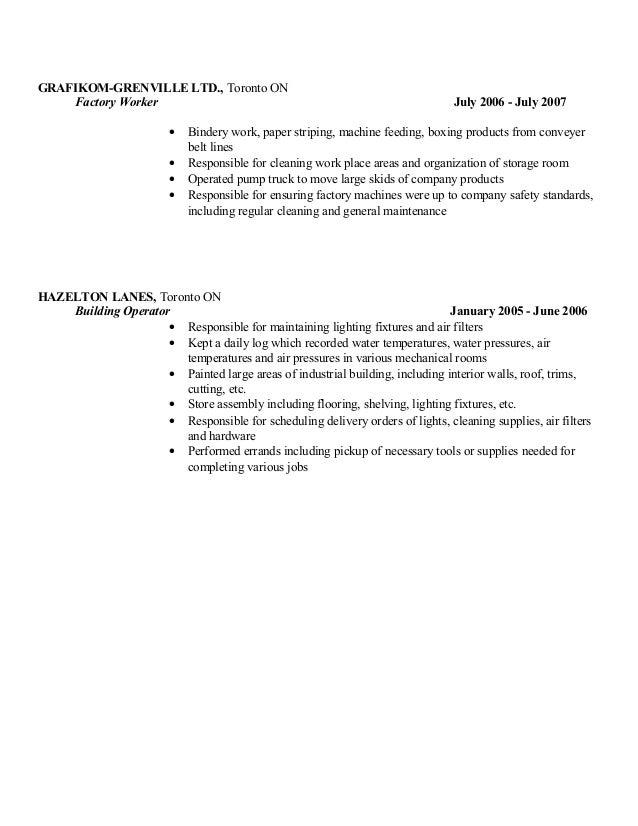 bindery worker resume